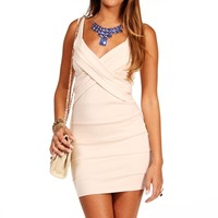 Beige Banded Bodycon Dress