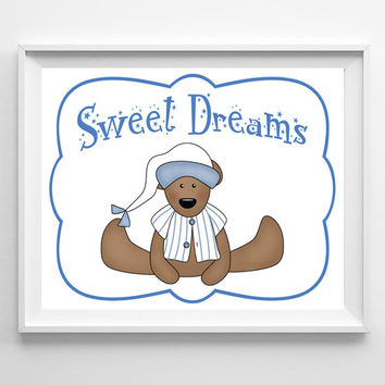 Sweet Dreams Nursery 8x10 Wall Art Decor PRINT, Boy Teddy Bear