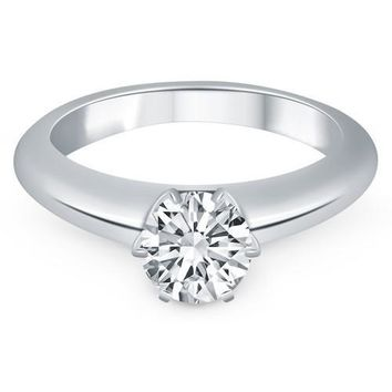 14K White Gold Solitaire Cathedral Engagement Ring, size 6.5