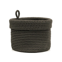 Mode Crochet 8X8 Basket W/Loop, Charcoal