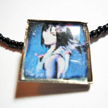 Rinoa Pendant Final Fantasy 8 altered art necklace with black seed beads, 20 inches, video game jewelry, gamer gifts