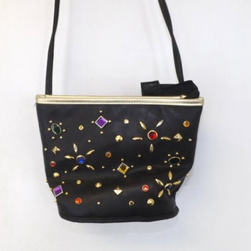 VINTAGE 1980's Black Faux Leather Rhinestone Gem Jeweled Gold Tone Metal Studded Handbag Purse Bag Hipster Glam Punk Rocker Kawaii Tacky