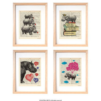 Hippo wall art-hippo set of 4 prints-hippo dictionary print-hippo wall art-hippo print-cool prints-wall art-home decor-dorm decor-DP186