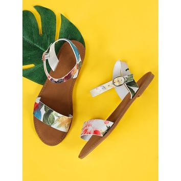 Multicolor Flower Print Single Band Ankle Strap Flat Sandal White Multi