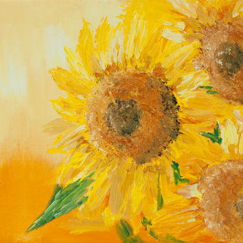 Modern yellow floral oil painting on canvas, abstract sunflowers, textured palette knife style,  signed, FREE US SHIPPING
