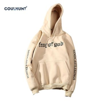 Fear Of God Hoodies Justin Bieber Apricot Black Fear Of God Sweatshirt Kanye West Skateboard Hoodies for Couples M L XL XXL