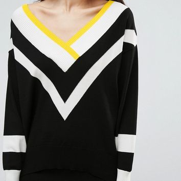 River Island Chevron Stripe Sweater at asos.com