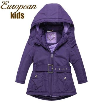 Girls Outerwear Coat Hooded winter jacket 2-8Years