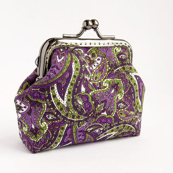 Purple Green Paisley Coin Purse, Orchid Change Pouch with Kisslock