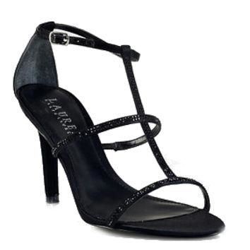 Ralph Lauren AIDA Stones Black Heels Satin Sandals