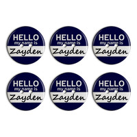 Zayden Hello My Name Is Plastic Resin Button Set of 6
