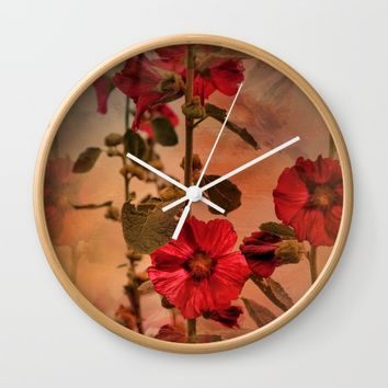 Mid-Summer Hollyhocks Wall Clock by Theresa Campbell D'August Art