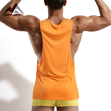 New Men's Vivid Workout Tank Tops Low Cut Armholes Vest Sexy Fitted Men's Tank Men Fitness Tees Muscle Men Activewears AD54
