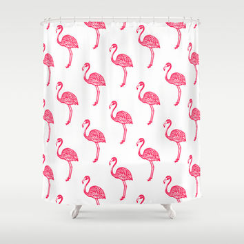 American Flamingo (pink) Shower Curtain by The Wallpaper Files