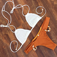 White Crochet Triangle Halter Top X Orange Shell Detailed Bottom Bikini Set