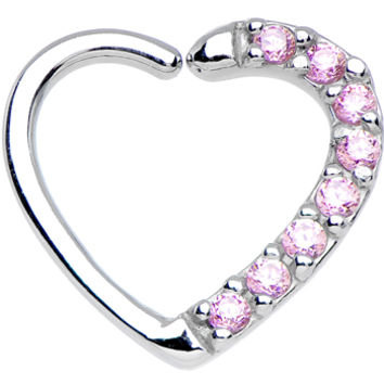 16 Gauge Pink CZ Heart Left Closure Daith Cartilage Tragus Earring | Body Candy Body Jewelry