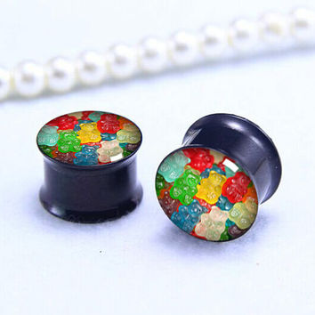 Sweet Candy plugs   , Screw on Gauge ear plugs ,  double flared  plugs,Black Titanium ear plugs ,Pricing body jewerly