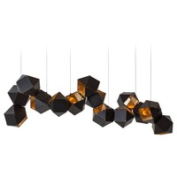 Welles Long Modular Chandelier in Customizable Dimensions and Finishes, Black