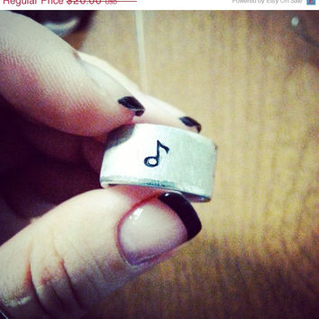 SALE - Christmas in July Music Wide Band Ring - Custom Stamped with Musical Notes