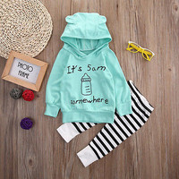 Cute Blue Toddler Clothes Baby Boy Cotton Hooded Tops Kids Striped Pants Baby Girl Autumn Outfit 2PCS Set