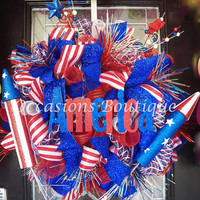 Summer Wreath, July 4th Wreath, Patriotic Wreath, Front door wreaths, Wreath for door, Door Hanger, Ready to Ship
