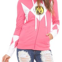 Mighty Morphin Power Rangers Pink Ranger Girls Zip Hoodie | Hot Topic