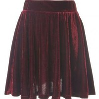 Pleated Velvet High Waist Skirt