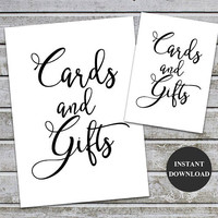 Cards and Gifts Signs Printable Wedding Baby Shower Decor Table Sign Printable Signs 5x7 and 8x10 (v32-1) Instant Download
