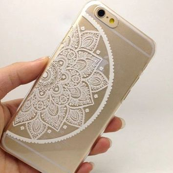 iPhone 6 Case, Hundromi(TM) Plastic Case Cover for Iphone 6 Henna White Floral Paisley Flower Mandala (For iphone 6 4.7 inch Screen)