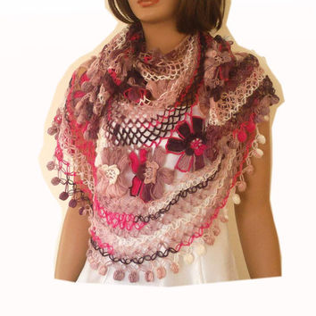 Crochet  '' Flower Garden'' shawl, semi-circle, bridal shawl,  wedding shawl, bridesmaid shawl in pink and brown shades, large, gift for her