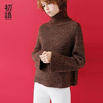 Toyouth 2017 Autumn Winter Long Sleeve Sweater Turtleneck Loose Cotton Femme Clothing Fashion Causal Sweater Plus Size