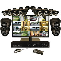 SECURITY LABS SLM7022 16-Channel 960H 3TB DVR with 12 800TVL Cameras & 22 LED Monitor