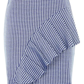 Gingham Ruffle Jersey Mini Skirt - Sale