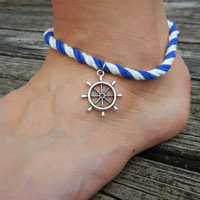 Nautical Cotton Ankle Bracelet  Anchor or Sailor by CindysShelf