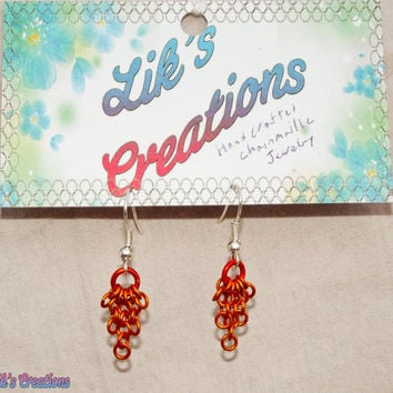 Tiny Cascade Earrings - Orange