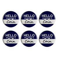 Cain Hello My Name Is Plastic Resin Button Set of 6