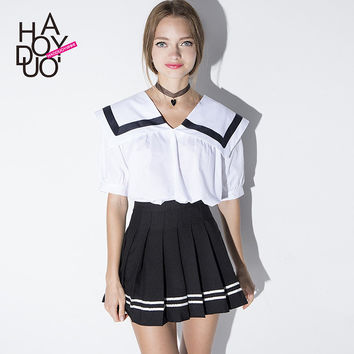 Haoduoyi Women Fashion Easy care Sailor Lantern sleeve Blouses Top Navy Style Preppy School Shirts