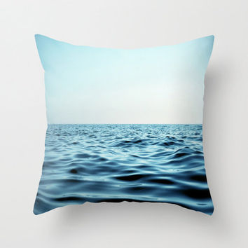 Pillow Cover, Aqua Blue Seascape, Nautical Throw Pillow, Coastal Ocean Water, Beach Surf Decor Couch Bed Living Accent, 16x16 18x18 20x20