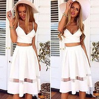 Mokingtop® Women Two Piece Crop Top Midi Skirt Set Summer Holiday Beach Skirt (S)