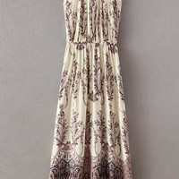 Spaghetti Strap Tribal Print High Waist A-Line Pleated Maxi Dress