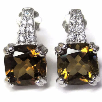 Vintage 90s Sterling Smoky Topaz Earrings