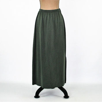 90s Olive Green Skirt Womens Long Skirt Maxi Skirt Large Vintage Clothing Womens Clothing