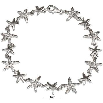 """STERLING SILVER 7"""" ALTERNATING SILVER AND CUBIC ZIRCONIA STARFISH LINK BRACELET"""
