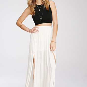 M-Slit Pleated Maxi Skirt