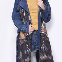 Dark Blue Lapel Deer Print Belted Long Denim Coat