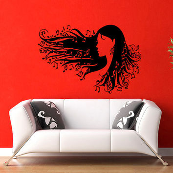 Girl Music Notes in Hair  Wall Vinyl Decal Sticker Wall Decor Home Interior Design Art Mural Z520