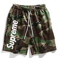Supreme Trending Women Men Casual Stylish Letter Print Green Camouflage Shorts Pants I12523-1
