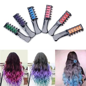 ac DCCKO2Q Temporary Hair Chalk Dye Powder With Comb Salon Hair Mascara Crayons Home DIY Blue/Green/Yellow/Red/Purple/Hot Pink