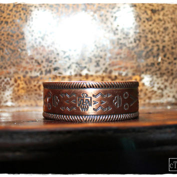 "Native American Vtg 60's ""BELL TRADING CO."" Thunderbird*Arrow*Sun Copper Signed Cuff Bracelet"