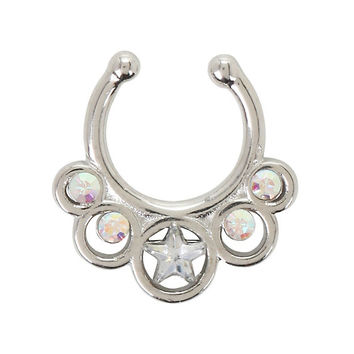 LOVEsick Star Iridescent CZ Faux Septum Ring
